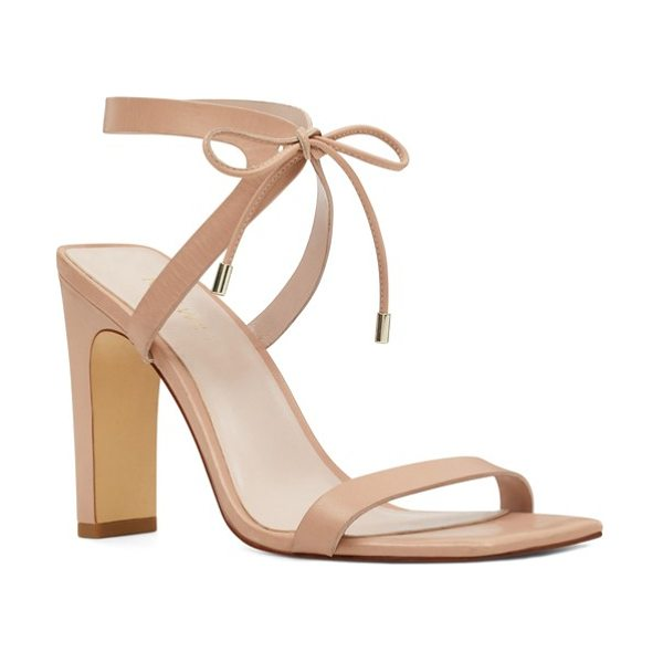 Nine West longitano squared toe sandal in light natural leather - Slender straps bridge the front and wrap the ankle of a...