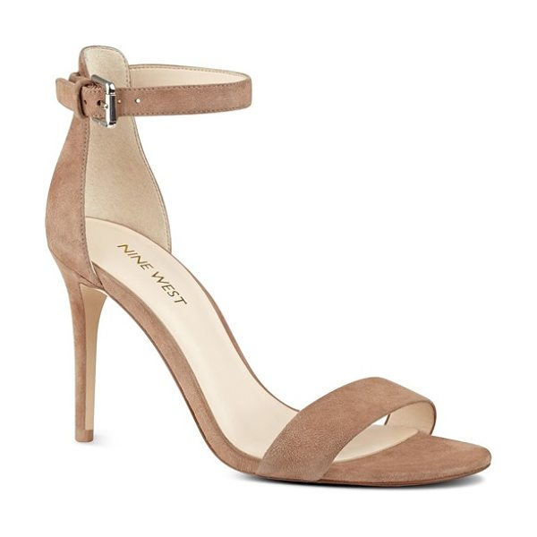 Nine West 'mana' ankle strap sandal in natural suede - With a lightly cushioned footbed and a tall stiletto...