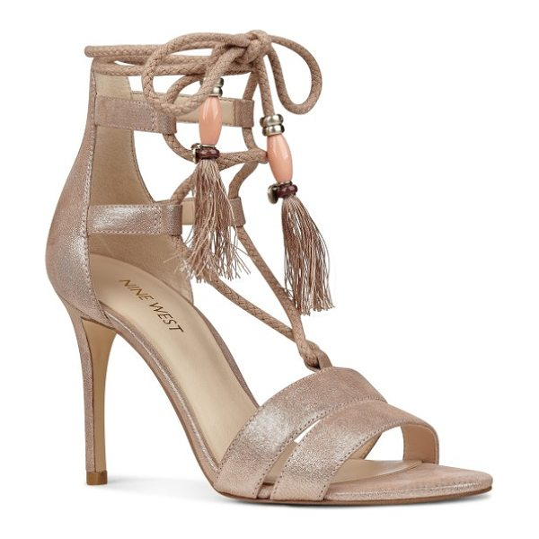 NINE WEST mangalara lace-up sandal - Braided tassel laces with shimmering beads embellish a...
