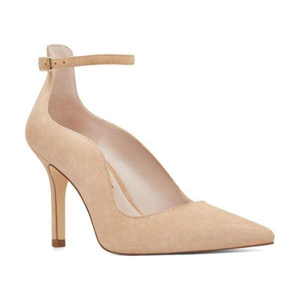 NINE WEST marquisha scalloped ankle strap pump - The plunging topline of an ankle-strap pump is shaped with...