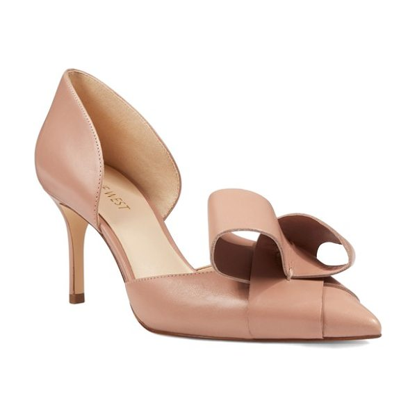 NINE WEST mcfally d'orsay pump in natural leather - A bold, loopy bow adorns the pointed toe of an elegant...