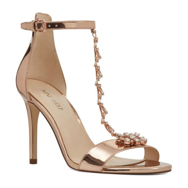 Nine West mimosana t-strap sandal in pink leather