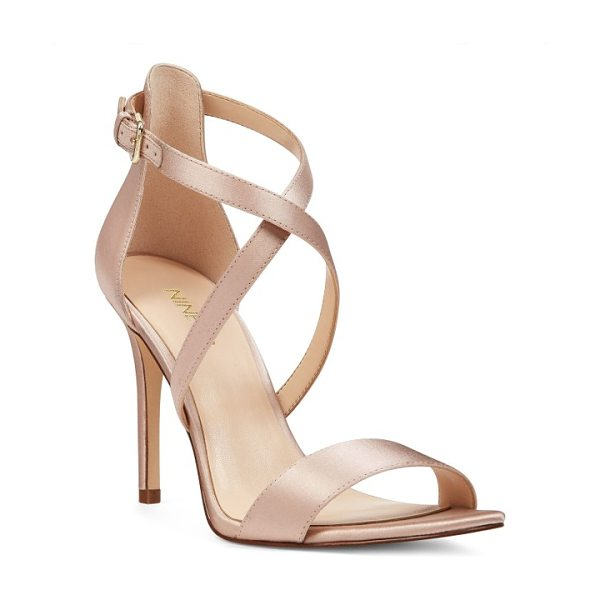 Nine West mydebut cross strap sandal in light natural satin - Slender straps cross gracefully up the front of a...