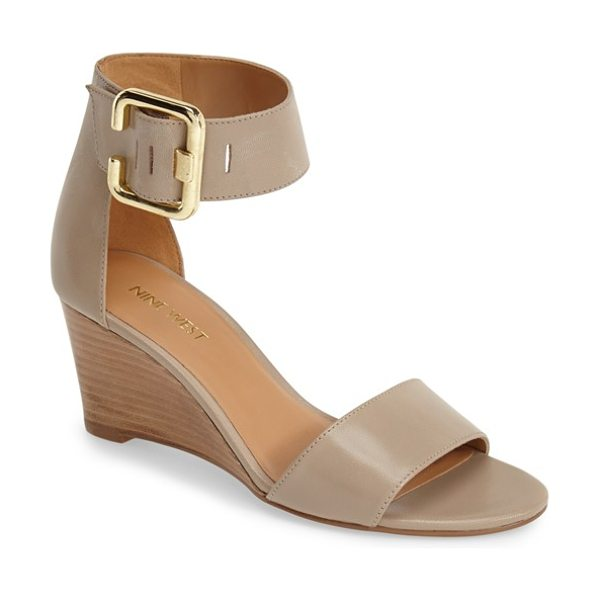 Nine West narcissus wedge sandal in taupe leather - A slender silhouette and stacked demi wedge highlight...