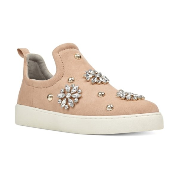Nine West perfume sneaker in beige - Crystal flowers and dome studs shimmer on a classic...