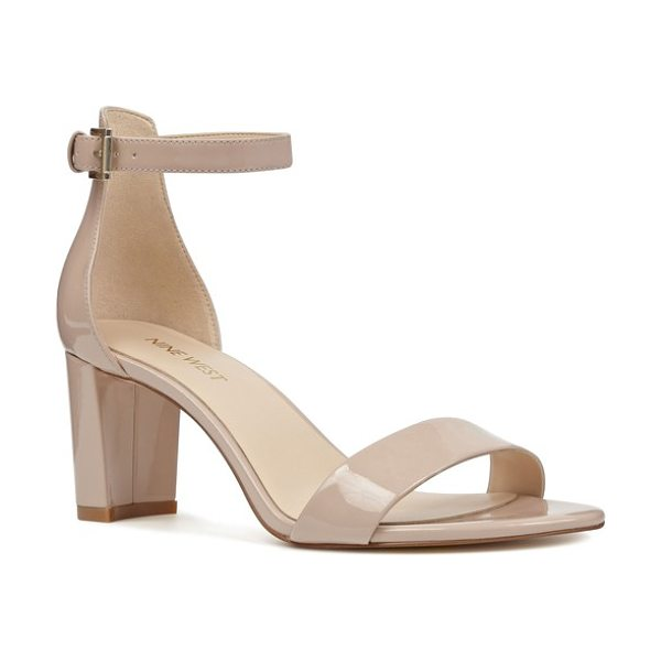 Nine West pruce ankle strap sandal in beige - A chunky heel heightens the on-trend style of a chic...