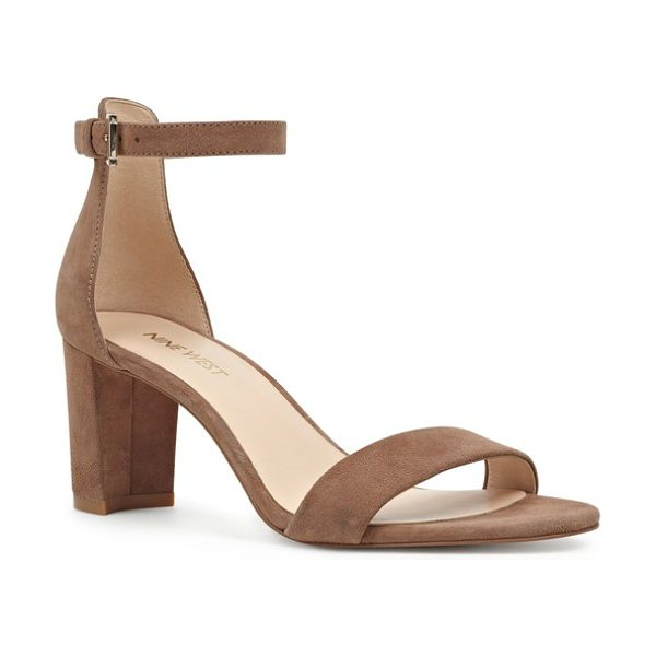 Nine West pruce ankle strap sandal in dark natural suede - A chunky heel heightens the on-trend style of a chic...
