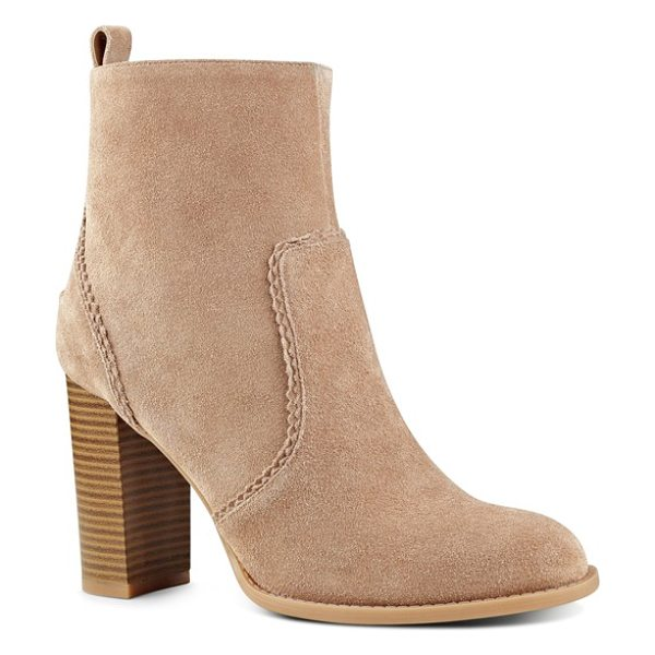 NINE WEST quicksand block heel bootie - Scalloped trim along the lush suede panels updates an...