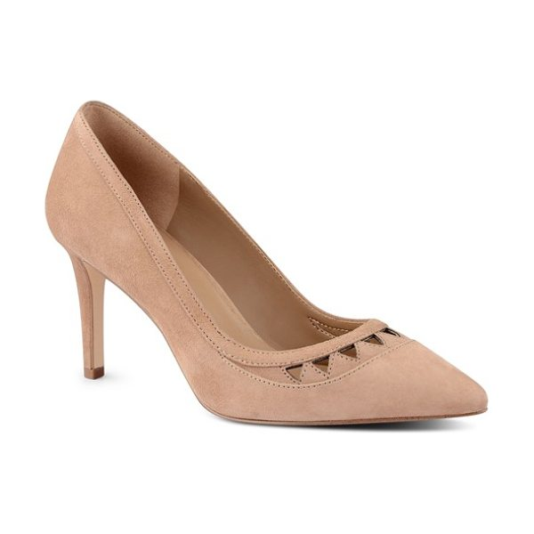 Nine West 'raheza' cutout pump in natural suede - Triangular laser cutouts detail the vamp of a sultry...