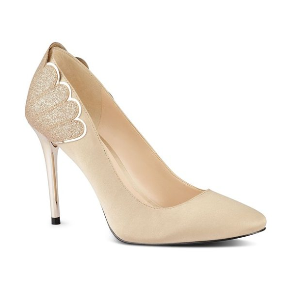 Nine West 'rainiza' almond toe pump in light gold satin - Glittering scalloped detailing and a metallic stiletto...