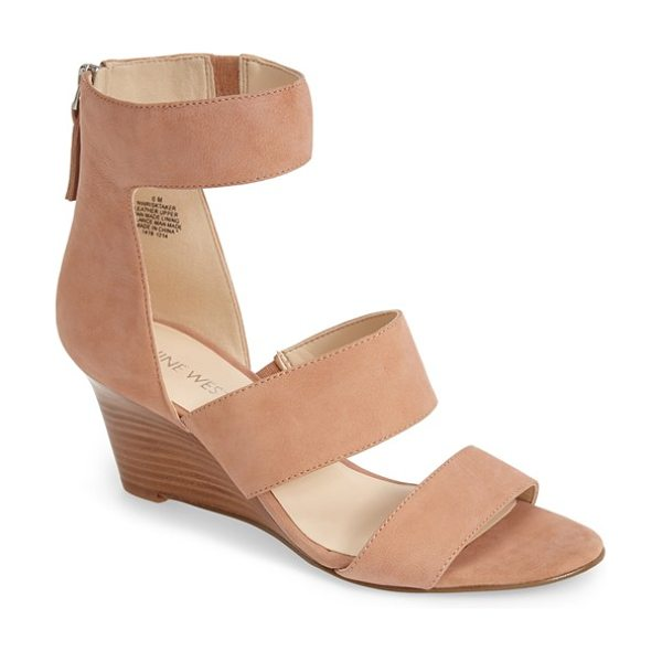 Nine West risk taker wedge sandal in natural nubuck - A slim, curved wedge and bold cutouts bring modern...