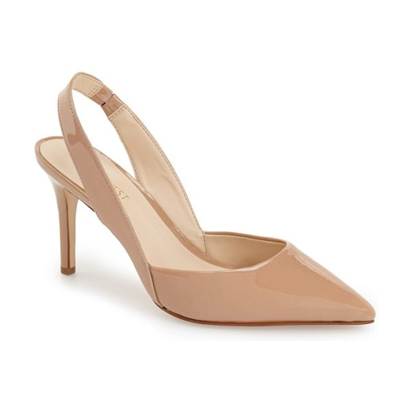 Nine West rollover slingback pump in natural patent - Modern and refined, a classic slingback pump is styled...