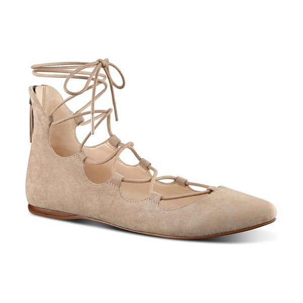Nine West sign me up ghillie flat in dark natural suede - A trend-forward ghillie flat shaped from soft suede is...