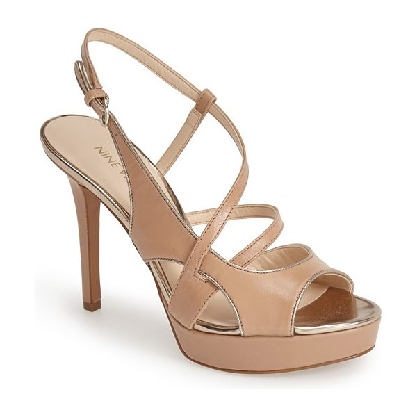 Nine West so true leather platform sandal in natural leather