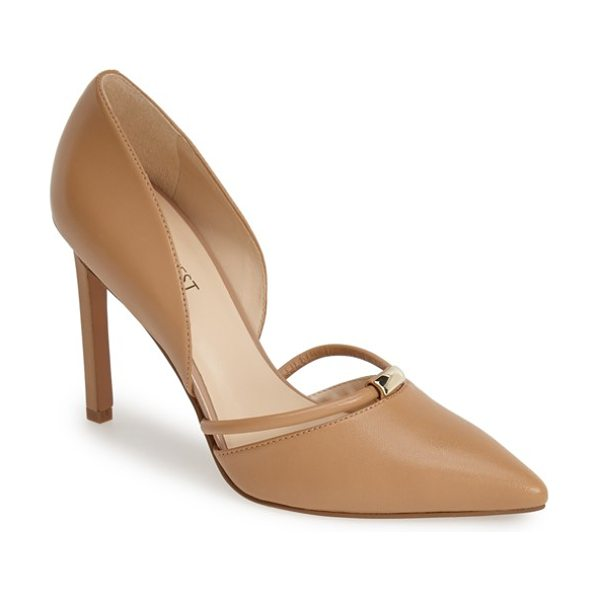 Nine West take it ez leather dorsay pump in light natural leather - A floating ring strap anchored by gleaming goldtone...