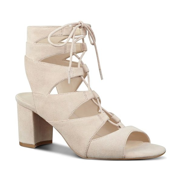 Nine West 'take it up' ghillie sandal in light natural suede - Crisscrossed ghillie laces span the open top of a...