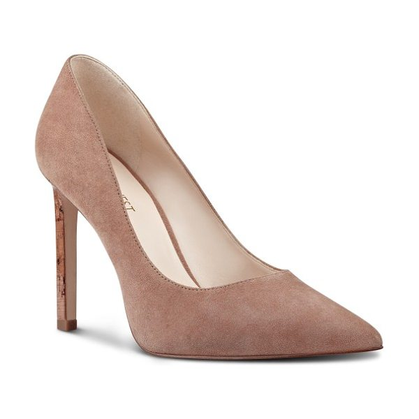 Nine West 'tatiana' pointy toe pump in dark natural suede - Perfectly poised and fit for any occasion, this classic...