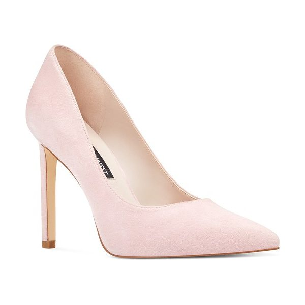 Nine West 'tatiana' pointy toe pump in light pink suede - Perfectly poised and fit for any occasion, this classic...