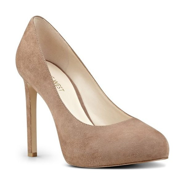 Nine West tyler concealed platform pump in natural suede - An essential pump comes outfitted with a rounded toe, a...