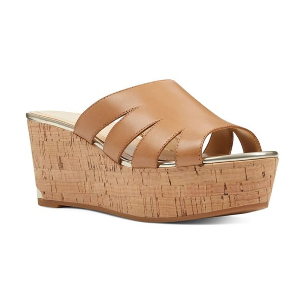 Nine West victoria cutout wedge slide sandal in beige - A logo-engraved rand at the wedge heel adds a dash of...