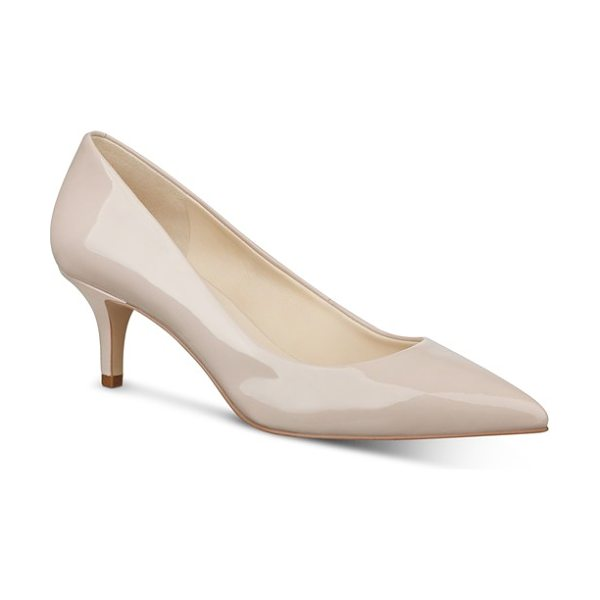 NINE WEST 'xeena' pointy toe pump in light natural patent - A tapered kitten heel adds vintage-inspired elegance to...