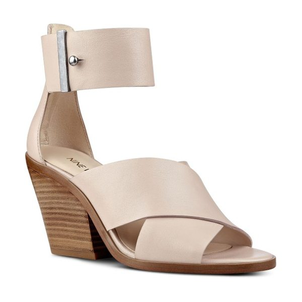 Nine West yannah block heel sandal in natural leather - Wide leather straps enhance the contemporary appeal of a...