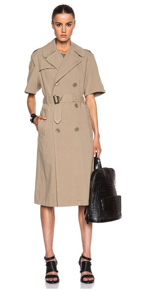 NLST Rolled sleeve trench coat in neutrals - 100% cotton.  Made in China.  Button front closures. ...