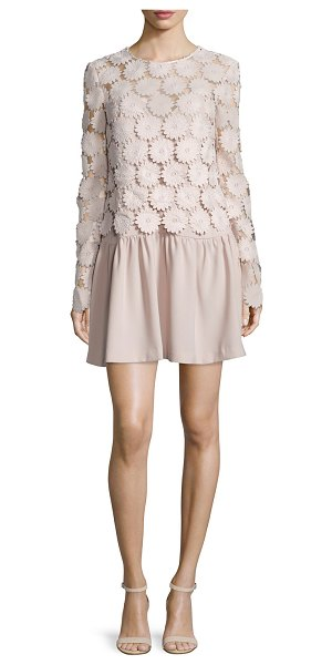 N/NICHOLAS Floral Bell-Sleeve Minidress - N Nicholas minidress with sheer top with large floral...