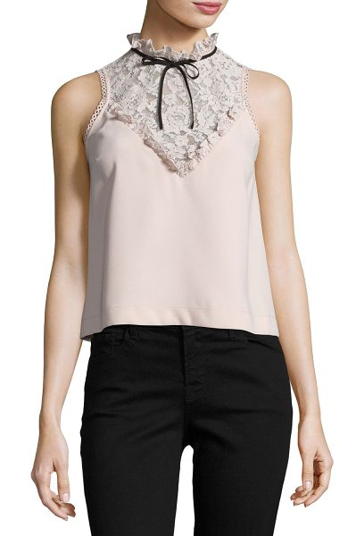 N/NICHOLAS High-Neck Crepe Top w/Lace Yoke - n/nicholas crepe top with lace yoke and trim. High...