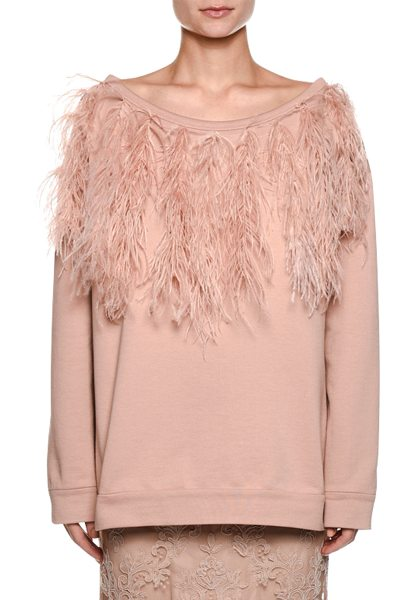 NO. 21 Bateau-Neck Long-Sleeve Sweatshirt w/ Feather Trim in nude - No. 21 cotton sweatshirt with ostrich feather trim....