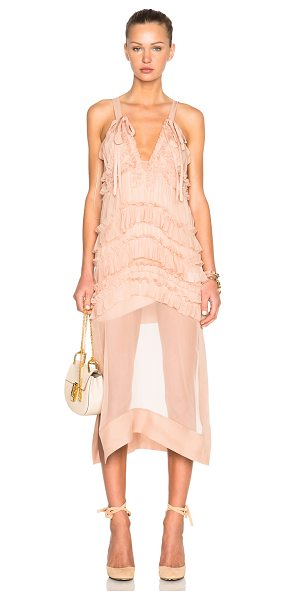No. 21 Chiffon ruffle dress in pink,neutrals