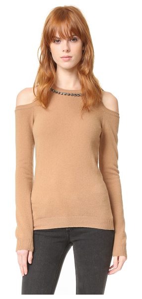 NO. 21 Crystal Neck Sweater - This soft, elegant No. 21 sweater is trimmed with...