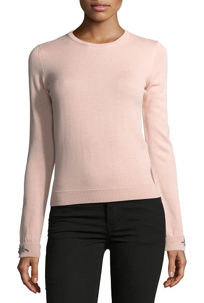 "No. 21 Dolores Crewneck Long-Sleeve Knit Sweater in blush - No. 21 ""Dolores"" knit sweater. Crew neckline. Long..."
