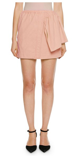 No. 21 Faux-Wrap Mini Ruffle-Side Skirt in pink