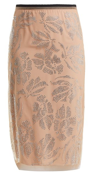 No. 21 Floral crystal-embellished tulle pencil skirt in pink multi - Embrace a distinctly feminine mood with this skirt by...