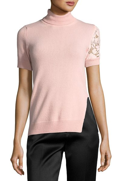 "No. 21 Juana Turtleneck Short-Sleeve Knit Sweater in blush - No. 21 ""Juana"" knit sweater with lace detail. Ribbed..."
