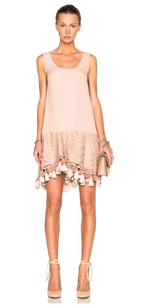 No. 21 Lace & Fringe Dress in blush - Self: 100% polyContrast Fabric: 69% acetate 31% silk....