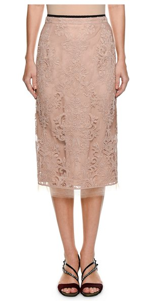 No. 21 Lace Pencil Skirt in pink