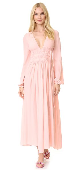 No. 21 long sleeve gown in rosa - A charming No. 21 gown in a fine silk blend. The deep V...