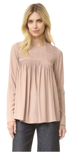 No. 21 long sleeve top in nude - Rows of pintucks add delicate detail to this swingy No....