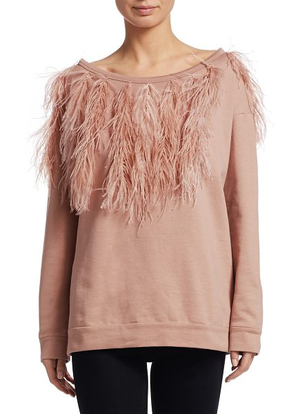 No. 21 ostritch feather sweatshirt in nude