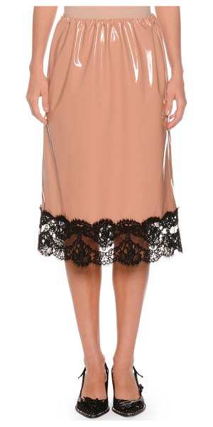 No. 21 Patent Faux-Leather A-Line Skirt w/ Lace Trim in brown