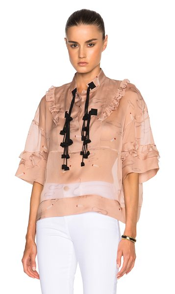 No. 21 Printed chiffon top in pink - Self: 100% silk - Contrast Fabric: 69% acetate 31% silk....