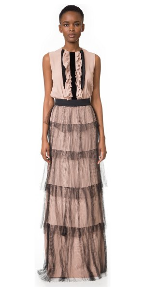 No. 21 Ruffle Gown in nude - A No. 21 maxi dress with a feminine, victorian inspired...