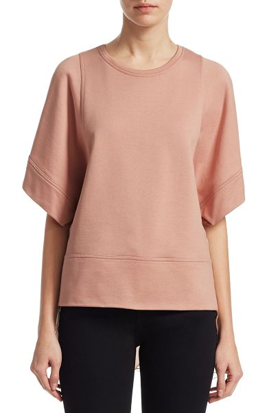 No. 21 short sleeve sweatshirt in nude - Sporty sweatshirt with chiffon and lace contrasts....