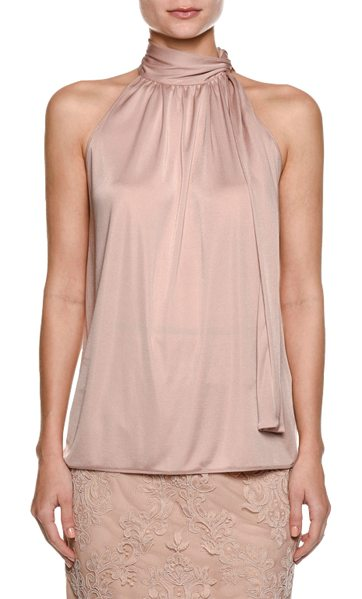 No. 21 Sleeveless Necktie Satin Blouse in pink - No. 21 satin blouse. Mock neckline with ties....