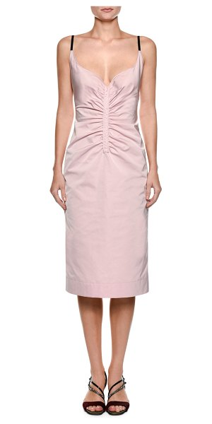 NO. 21 Sleeveless Ruched Duchess Satin Slip Cocktail Dress in light pink - No. 21 ruched duchess satin slip dress. Sweetheart...