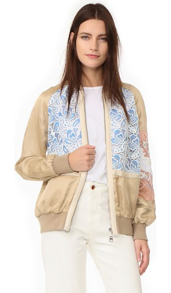 No. 21 sports jacket in beige - A mix of lace and satin panels lends a feminine feel to...