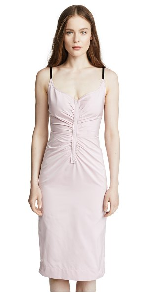 No. 21 v neck midi dress in pale pink - Fabric: Polished shirting Ruched seams at front and back...