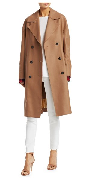 No. 21 wool-blend double-breasted camel coat in biscuit - Plaid cuffs lend an eclectic visual to this classic...